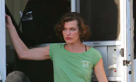 Milla Jovovich on Set in Los Angeles