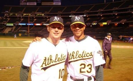 Chris Pratt and Stephen Bishop in Moneyball