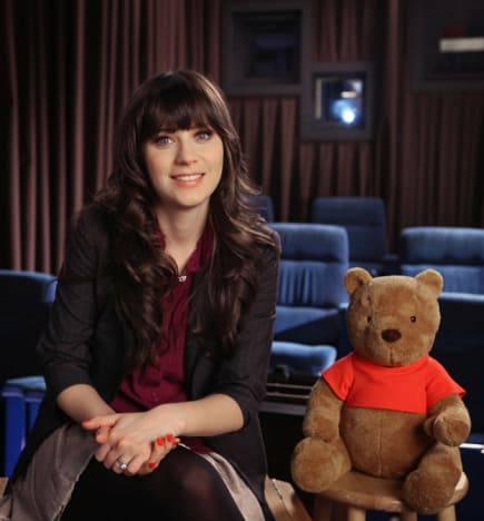 Zooey Deschanel and Winnie the Pooh