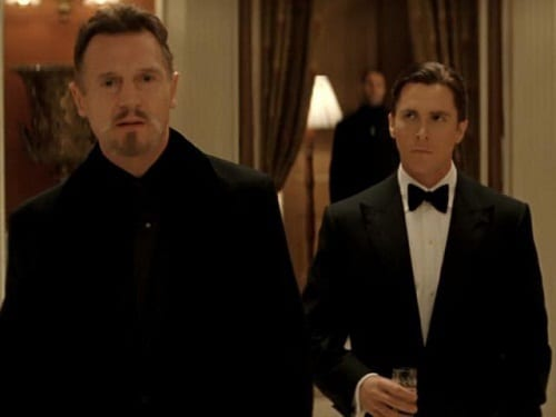 Liam Neeson and Christian Bale in Batman Begins