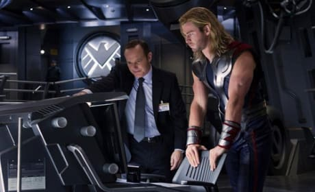 Clark Gregg and Chris Hemsworth in The Avengers