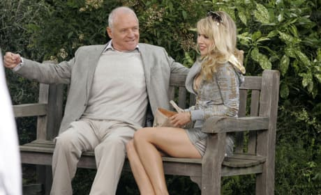 Anthony Hopkins on a park bench... with a hot blonde!