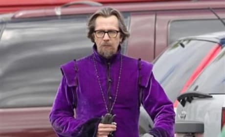 Gary Oldman Walks to Set
