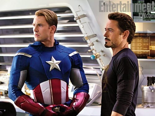 Chris Evans and Robert Downey Jr. in The Avengers