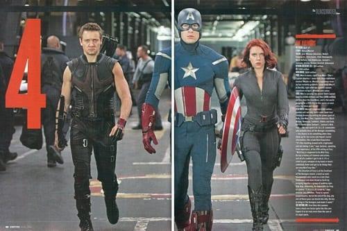 Jeremy Renner, Chris Evans and Scarlett Johansson in The Avengers