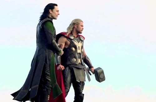Chris Hemsworth and Tom Hiddleston Thor The Dark World