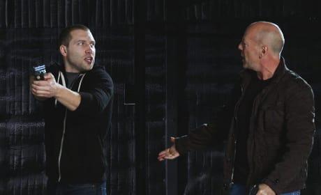 Jai Courtney and Bruce Willis in Die Hard 5