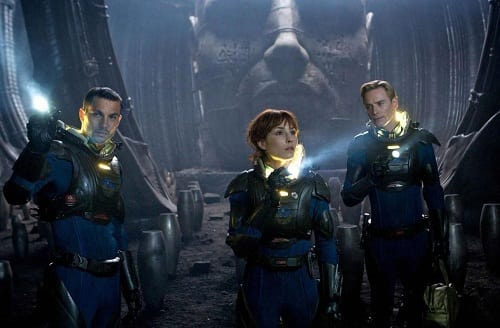 Michael Fassbender, Logan Marshall-Green and Noomi Rapace in Prometheus