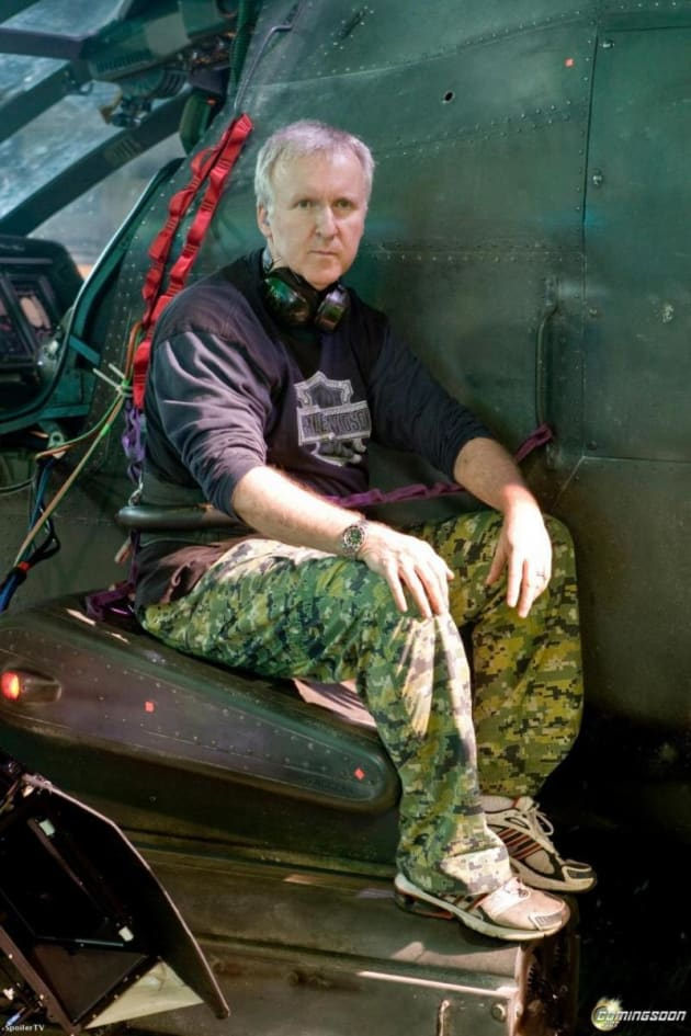 James Cameron directs in camoflauge pants