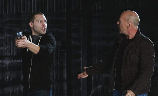 Jai Courtney and Bruce Willis in Die Hard 5