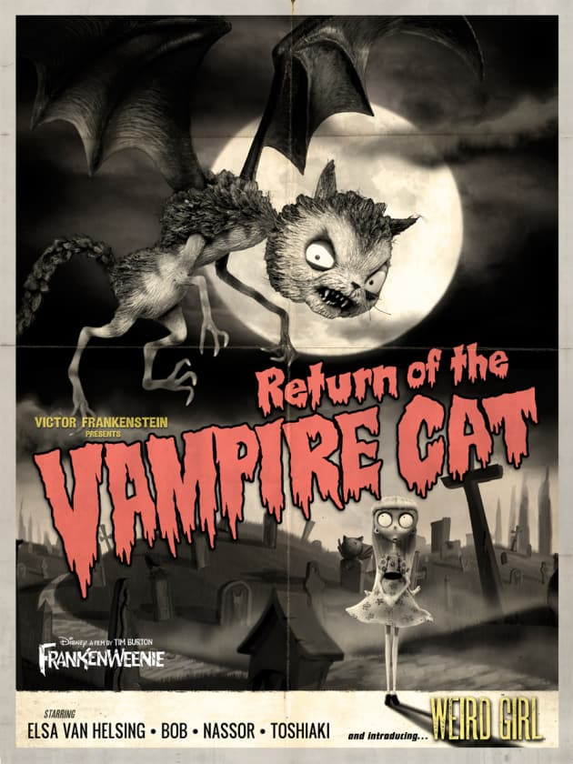 Frankenweenie Vampire Cat Monster Poster
