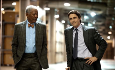 Morgan Freeman and Christian Bale The Dark Knight Rises